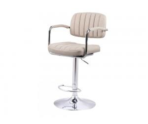 Бар стол Калипсо 13, въртящ с подлакътник - бежов текстил