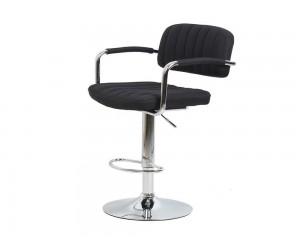 Бар стол Калипсо 13, въртящ с подлакътник - черен текстил