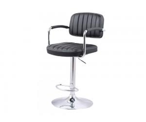 Бар стол Калипсо 13, въртящ с подлакътник - еко кожа черен