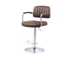 Бар стол Калипсо 13, въртящ с подлакътник - еко кожа кафяв