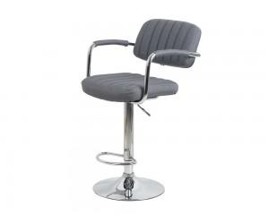 Бар стол Калипсо 13, въртящ с подлакътник - сив текстил