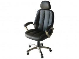 Ергономичен офис стол 063 с подлакътници, еко кожа - черен