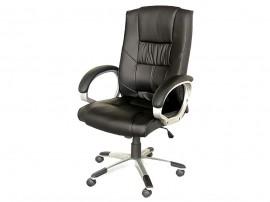 Ергономичен офис стол 645 с подлакътници, еко кожа - черен