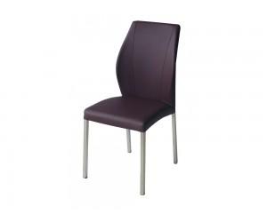 Тапициран трапезен стол AM-381, еко кожа - тъмнокафяв