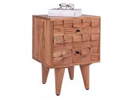 Нощно шкафче HM8192 - Акациева дървесина с 3D ефект