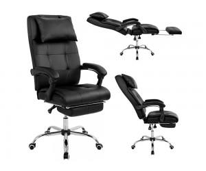Кожен офис стол Synchro HM1057.01 с подлакътници и стойка за крака - Черен