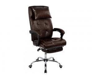 Кожен офис стол Synchro HM1057.09 с подлакътници и стойка за крака - Кафяв