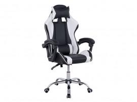 Кожен офис стол HM1145.04 с подлакътници и възглавнички - Черен/ Бял