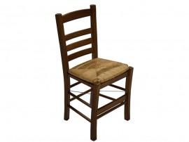 Дървен трапезен стол HM10114.02 със сламена седалка - в гръцки традиционен стил