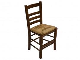 Дървен трапезен стол Rino 2 HM10115.05 със сламена седалка - в гръцки традиционен стил