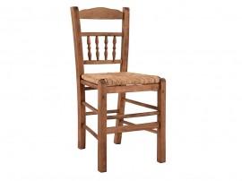 Дървен трапезен стол HM10258.01 със сламена седалка - в гръцки традиционен стил