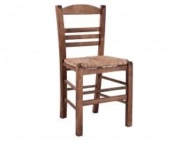 Дървен трапезен стол HM10369.01 със сламена седалка - в гръцки традиционен стил