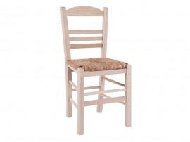 Дървен трапезен стол HM10369.02 със сламена седалка - в гръцки традиционен стил