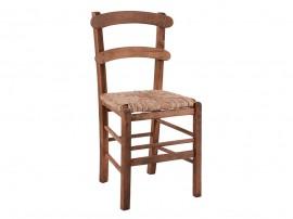 Дървен трапезен стол HM10370.01 със сламена седалка - в гръцки традиционен стил