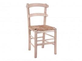 Дървен трапезен стол HM10370.02 със сламена седалка - в гръцки традиционен стил