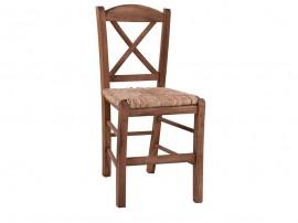 Дървен трапезен стол HM10371.01 със сламена седалка - в гръцки традиционен стил