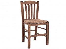Дървен трапезен стол HM10376.01 със сламена седалка - в гръцки традиционен стил