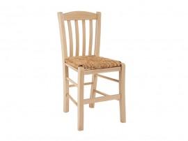 Дървен трапезен стол HM10376.02 със сламена седалка - в гръцки традиционен стил