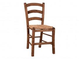 Дървен трапезен стол HM10379.01 със сламена седалка - в гръцки традиционен стил