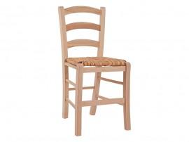 Дървен трапезен стол HM10379.02 със сламена седалка - в гръцки традиционен стил