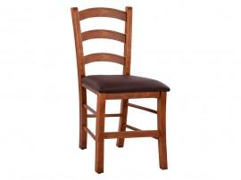 Дървен трапезен стол Paros HM5584 с кожена седалка - в гръцки традиционен стил