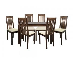 Комплект разтегателна маса с шест стола HM10058 - Орех