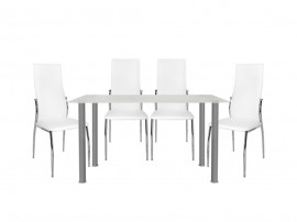 Комплект маса Alan с четири стола Kim HM10062.01 - Стъкло/Бяло