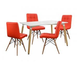 Комплект маса и четири стола Rosa HM10077.04 - Бял/Червен