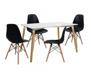Комплект маса и четири стола Tonia HM10080.02 - Бял/Черен