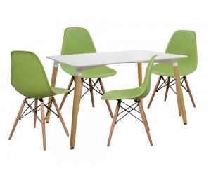 Комплект маса и четири стола Tonia HM10080.10 - Бял/Зелен