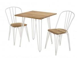 Комплект квадратна маса с два стола HM10129 - Натурален/Бяло