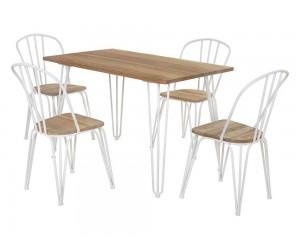 Комплект правоъгълна маса с четири стола HM10130 - Натурален/Бяло