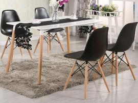 Комплект маса и четири стола Twist HM10192 - Бял/Черен