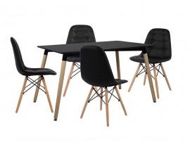 Комплект маса и четири стола HM10223 - Черно/Черно