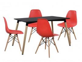 Комплект маса и четири стола HM10226 - Черно/Червено