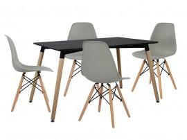 Комплект маса и четири стола HM10229 - Черно/Сиво