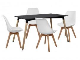 Комплект маса и четири стола HM10230 - Черно/Бяло