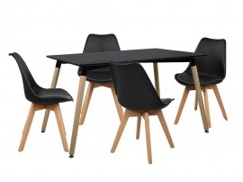 Комплект маса и четири стола HM10231 - Черно/Черно