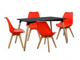 Комплект маса и четири стола HM10232 - Черно/Червено