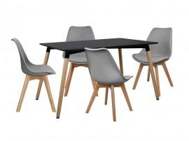 Комплект маса и четири стола HM10233 - Черно/Сиво