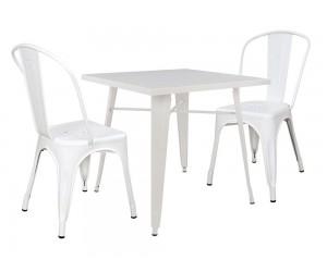 Комплект метални квадратна маса и два стола Melita HM10308 - Бели