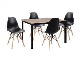 Комплект маса и четири стола HM10340 - Сонома/Черно