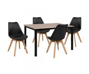 Комплект маса и четири стола HM10341 - Сонома/Черно