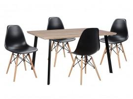 Комплект маса и четири стола Twist HM10346 - Сонома/Черен