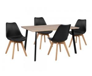 Комплект маса и четири стола Vegas HM10347 - Сонома/Черен