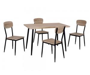 Комплект маса и четири стола HM10348.01 - Сонома/Черен