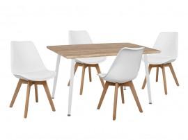 Комплект маса и четири стола Vegas HM10350.02 - Сонома/Бял