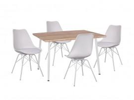Комплект маса и четири стола Vegas HM11023.31 - Сонома/Бял