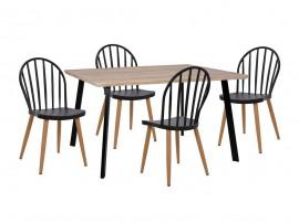 Комплект маса и четири стола HM11038 - Сонома/Черен