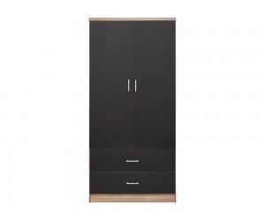 Гардероб HM338.04- с две врати и две чекмеджета - Сив/Сонома